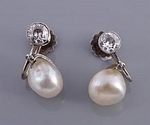 A pair of natural pearl and diamond ear pendents,