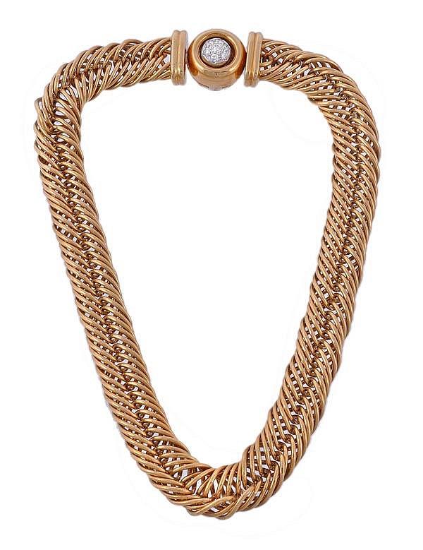A diamond set collar necklace by Pomellato, the