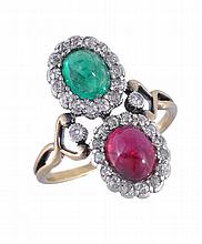 A ruby, emerald and diamond double cluster ring,