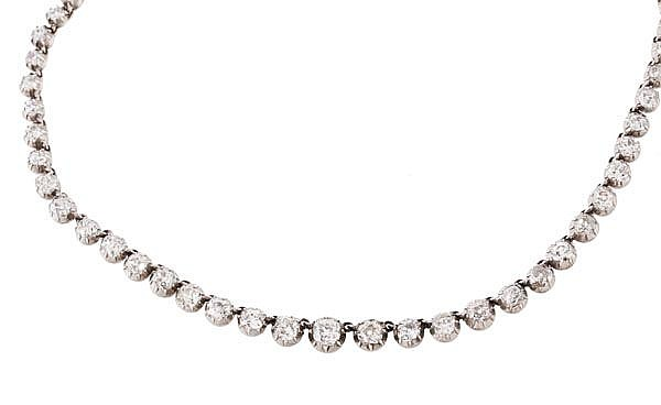 A Victorian diamond rivere necklace, the graduated