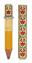 A rose cut diamond and Jaipur enamel pencil