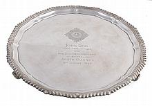 A silver shaped circular salver by Asprey & Co. Ltd