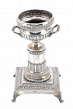 An Italian silver urn on stand, 1872 - 1933 optional mark
