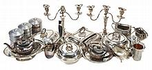 A collection of electro-plated items, to include
