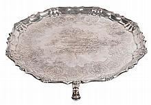 A George II silver shaped circular salver by Robert Abercromby, London 1744