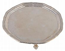 A silver shaped circular salver by William Suckling Ltd