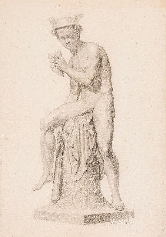 Erling Carl Wilhelm Eckersberg (1808 - 1889) - Mercury, after Bertel Thorvaldsen