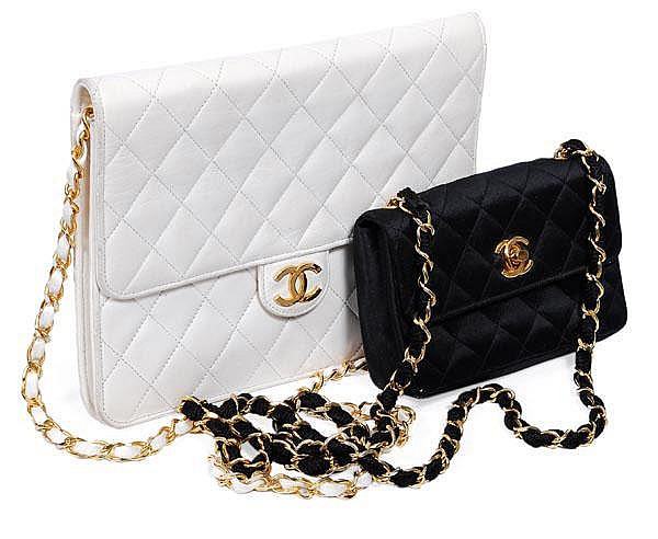Chanel, a small quilted black satin handbag, the