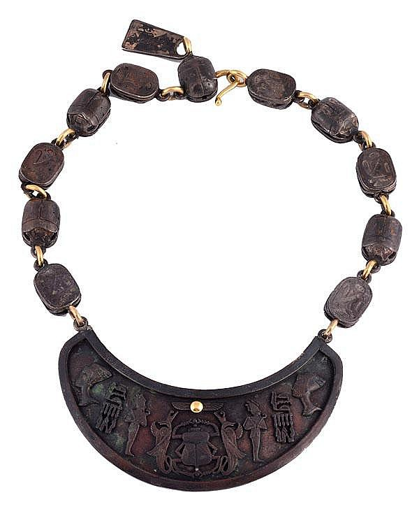 An Egyptian influenced part oxidised necklace by