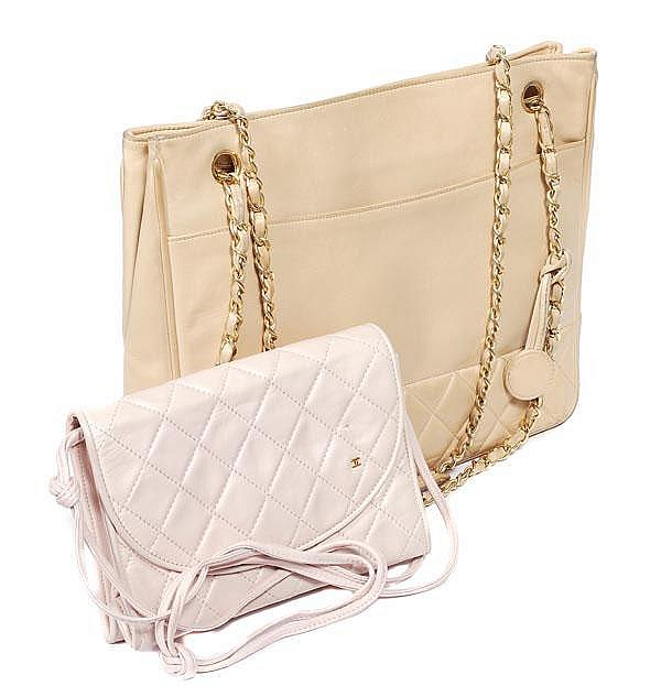 Chanel, a large part quilted cream leather