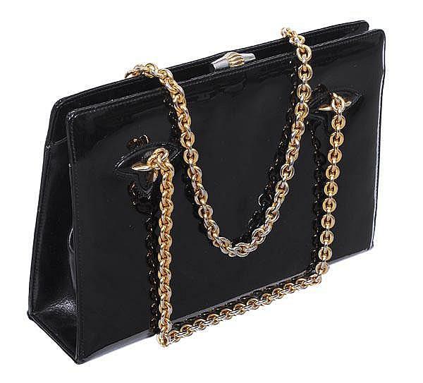 Gucci, a 1960s black patent leather box handbag,