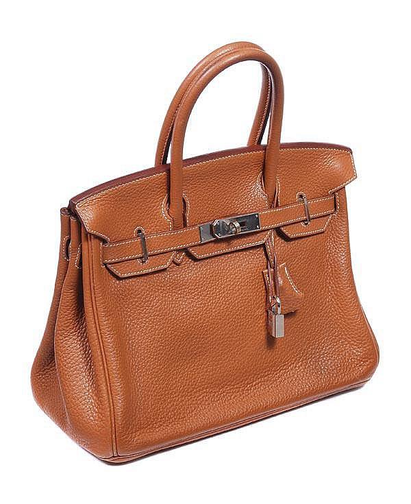 Hermes, a camel Togo leather Birkin bag, with