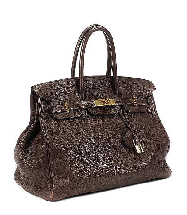 Hermes, a chocolate brown Togo leather Birkin bag,