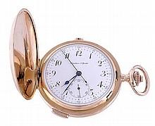 An 18 carat gold hunter repeating chronograph