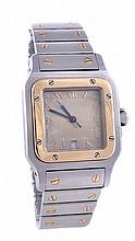 * Cartier, Santos, a midi two colour wristwatch,