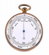 A brass pocket compass and barometer, the silvered
