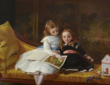 Circle of James Hayllar (British 1829-1920) - Portrait of the Coleridge Daughters, Audrey Jane and Phyllis both...