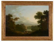 Copleston Warre Bampfylde (British, 1720-1791) - Arcadian landscape, a view of Rome in the distance
