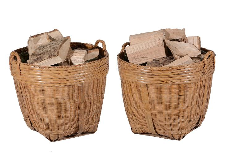 Wicker Log Basket With Handles : A pair of wicker log baskets with loop handles and metal li