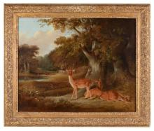 William Daniell, R.A. (British, 1769-1837) - Fallow deer in a wooded landscape