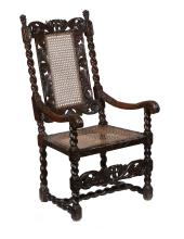 A Charles II walnut open armchair , circa 1660