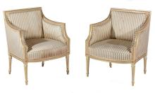 A George III cream painted and parcel gilt suite of seat furniture, circa 1790