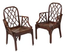 A pair of George III mahogany Cockpen chairs, circa 1780