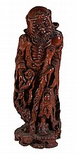 A Chinese root wood carving of Li Tieguai, the