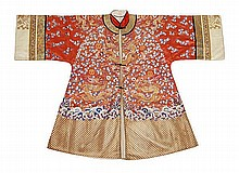 A Chinese red silk informal jacket embroidered in