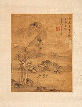 Two Chinese landscape paintings, ink on silk,