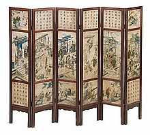A Chinese soapstone six folded standing screen
