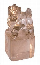 A Chinese rock crystal seal, the large cuboid