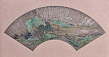 A Chinese fan painting painted on a silver ground