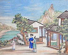 A Chinese Export painting in gouache on paper