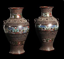 A pair of Chinese bronze enamel vases of