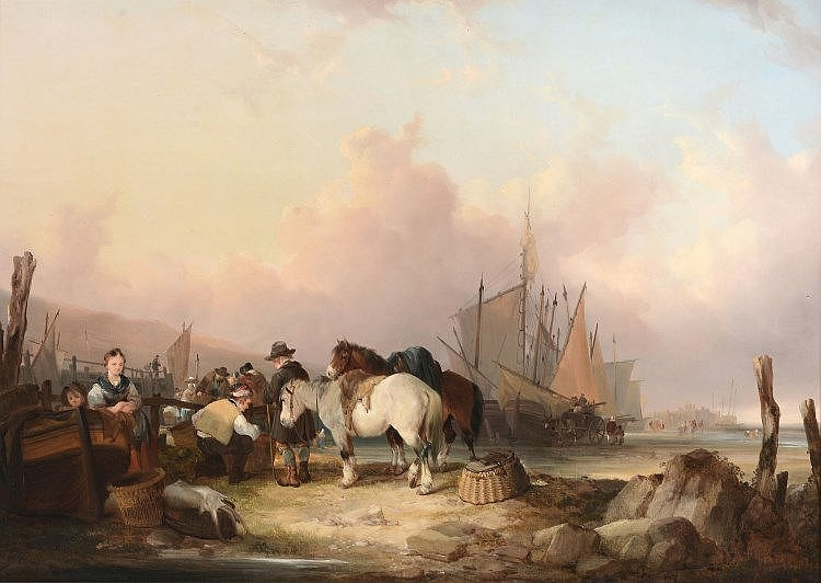 William Shayer the Elder (1787-1879) - Coastal scene with figures and ponies, fishing vessels moored in the distance