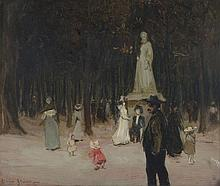 Clare Atwood (1886-1962) - A Parisian park, possibly Luxembourg Gardens
