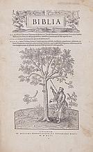 Bible, - Latin . Biblia , first word of title in woodcut cartouche