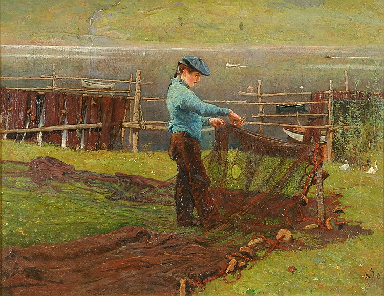 William Small (1843-1929) Mending the nets Oil on