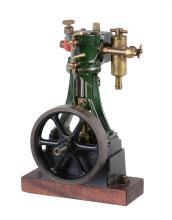 A Stuart Turner 10V vertical live steam engine, with open crank