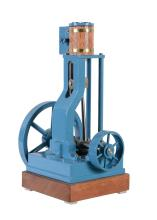 A model of a vertical live steam stationary engine