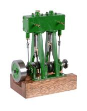 A well engineered model of a twin simple vertical marine steam engine
