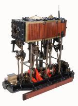 A fine Victorian full size twin cylinder compound vertical live steam marine...