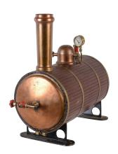 A horizontal copper live steam boiler, lagged in mahogany planking with...