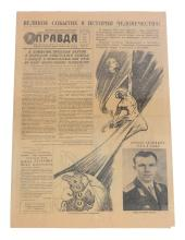 Yuri Gagarin : a rare and historic original copy of Pravda dated 13-