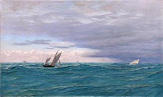 Attributed to John Brett A.R.A (1830-1902) Yachts
