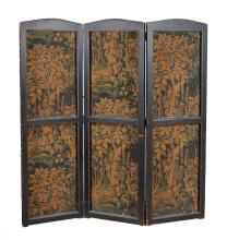 A Continental embossed leather three fold screen , 19th century