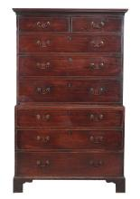 A George III mahogany chest on chest, circa 1780