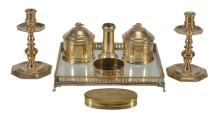 A collection of domestic brass items, comprising an 18th century Dutch...