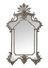 A Continental carved grey/green painted marginal wall mirror